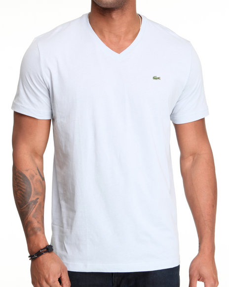 Lacoste Men Grey S/S Pima Jersey V-Neck Tee