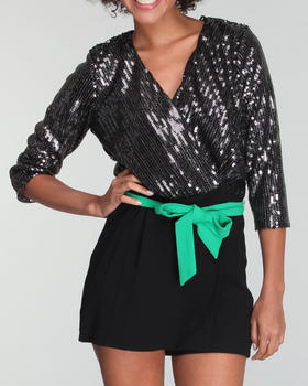 XOXO - Sequin Top Belted Romper