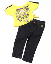 Girls - 2pc Side Tie Knit Top with Capri Set