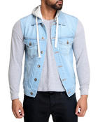 Men - Denim Vest with Removable Hood