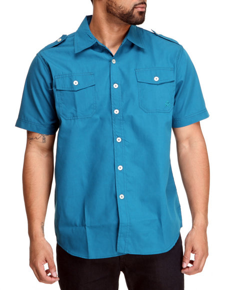 Akademiks Men Blue Glory S/S Button Down Shirt