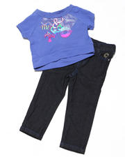 Girls - 2pc Short Sleeve Knit Top with Capri Set