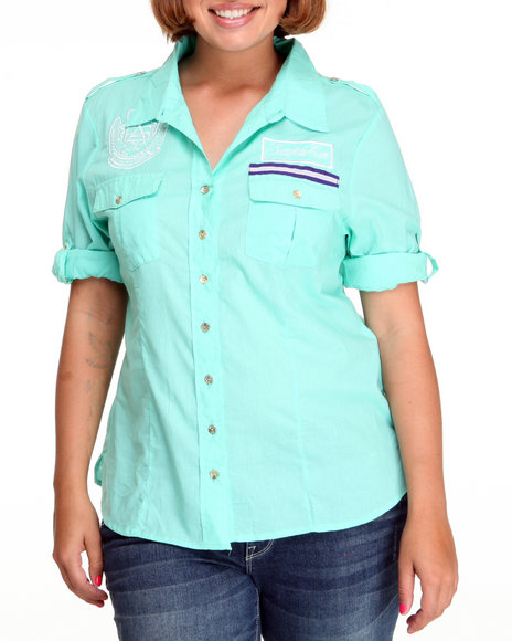 Apple Bottoms Women Teal Cotton/Spandex Fitted Logo Woven Top (Plus Size)