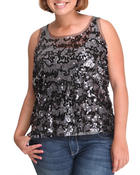 Women - Tank top w/lace sequins