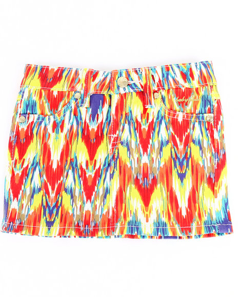 Baby Phat - Girls Multi,Red Printed Twill Skirt (4-6X)