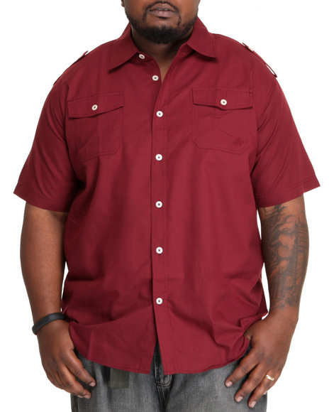 Akademiks Men Maroon Glory S/S Button Down Shirt (B&T)