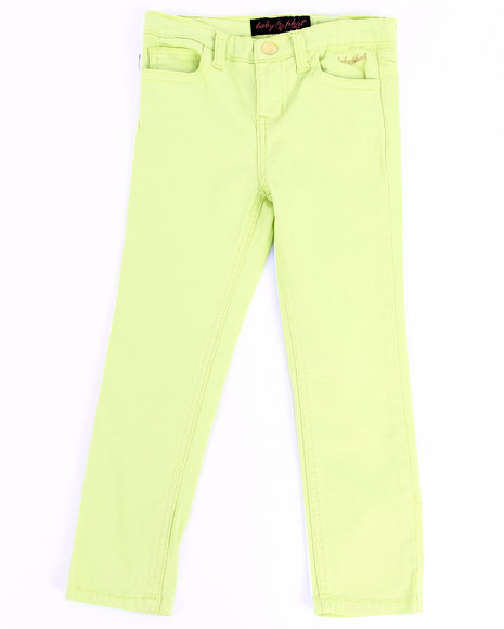 Baby Phat Girls Lime Green Color Twill Jeans (4-6X)