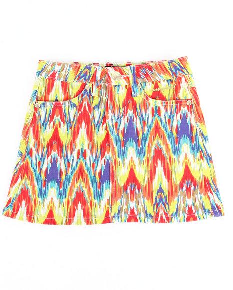 Baby Phat Girls Multi,Red Printed Twill Skirt (7-16)