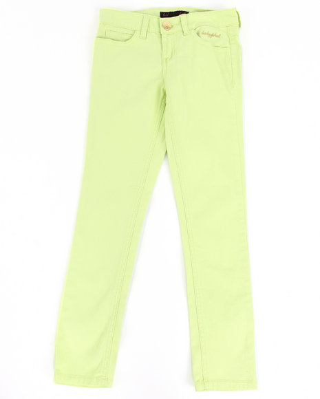 Baby Phat Girls Lime Green Color Twill Jeans (7-16)