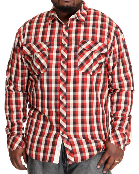 A Tiziano Men Red Springsteen Long Sleeve Woven (B&T)