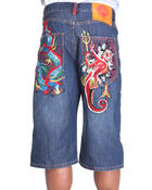 Ed Hardy - Dragon Vs. Mermaid Embroidered Denim Shorts