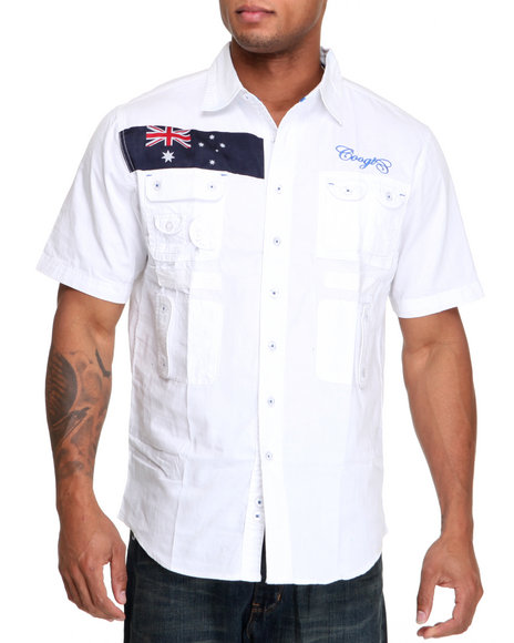 COOGI Men White Expedition S/S Button Down Shirt