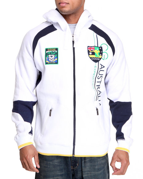 COOGI Men White Expedition Zip Hoodie