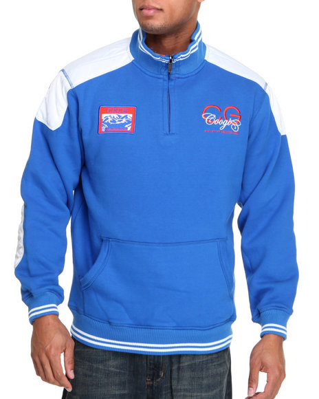COOGI Men Blue,White Expedition Fleece Pullover Sweatshirt