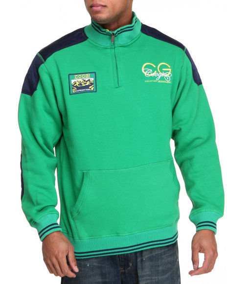 Coogi Men Green,Navy Expedition Fleece Pullover Sweatshirt