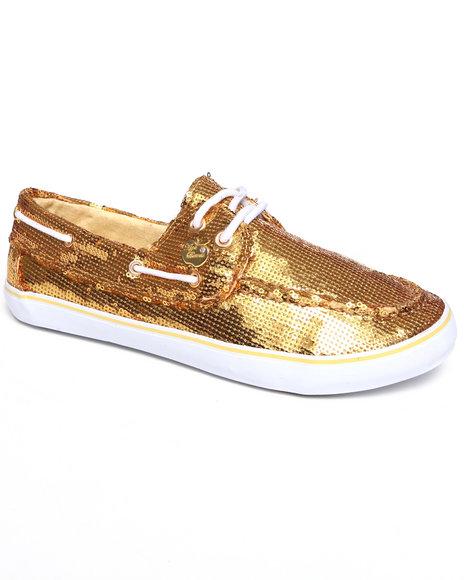 Apple Bottoms Women Gold Bonina Sequin Deck Sneaker