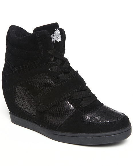 Apple Bottoms Women Black Falco Sequin Trim Wedge Sneaker