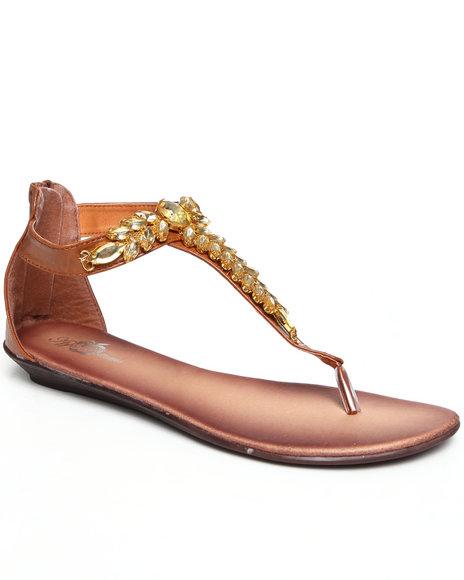 Apple Bottoms Women Tan Thong Jeweled Sandal