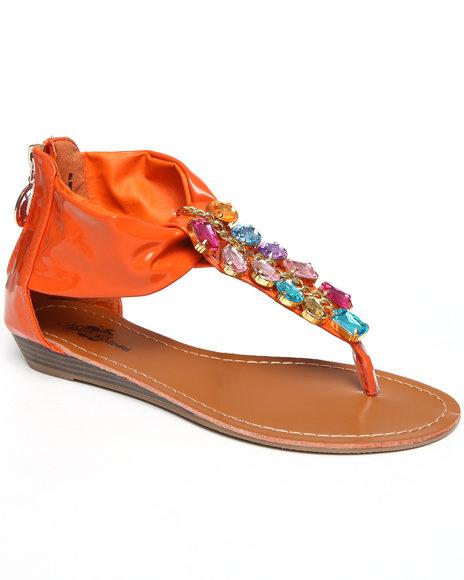 Apple Bottoms Women Orange Patent Beaded Thong Sandal