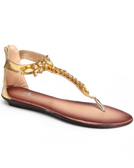Apple Bottoms Women Gold Thong Jeweled Sandal