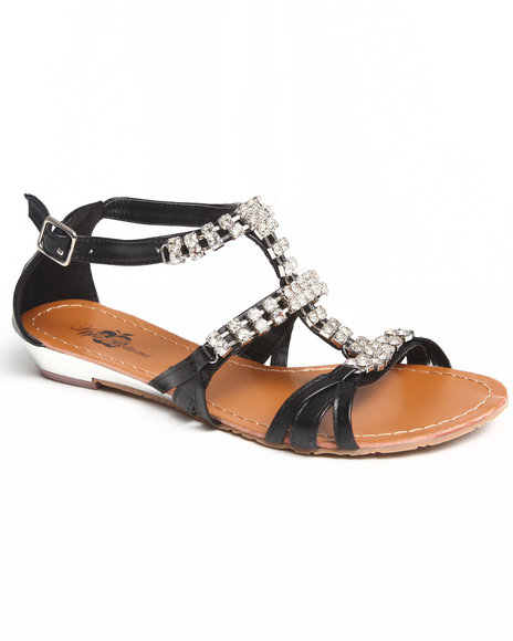 Apple Bottoms Women Black Jewel Studded Sandal