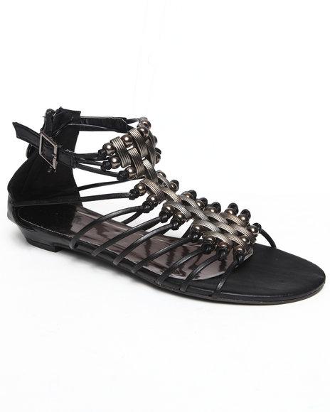 Apple Bottoms Women Black Stretch Gladiator Sandal
