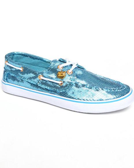 Apple Bottoms Women Blue Bonina Sequin Deck Sneaker
