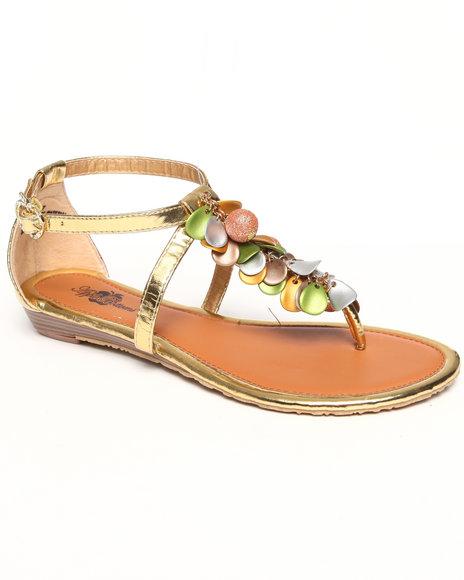 Apple Bottoms Women Gold Beaded Thong Sandal