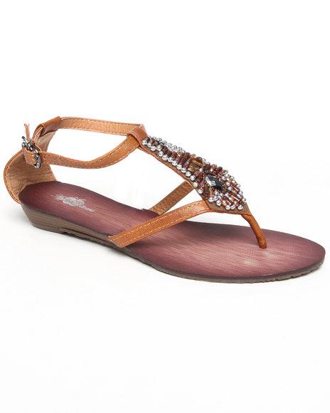 Apple Bottoms Women Tan Bead Trim Sandal