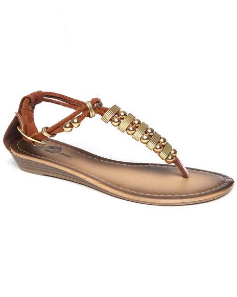 Apple Bottoms Women Tan Metal Beads Sandal