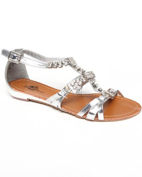 Apple Bottoms Women Silver Jewel Studded Sandal
