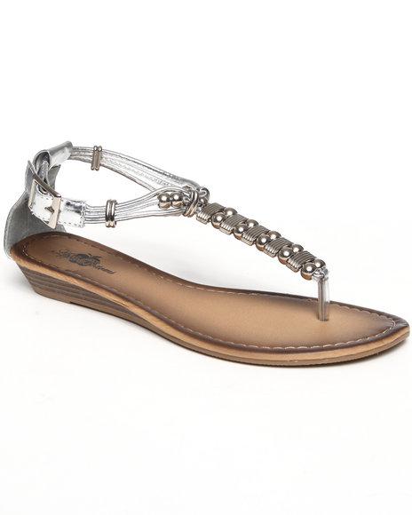 Apple Bottoms Women Silver Metal Beads Sandal