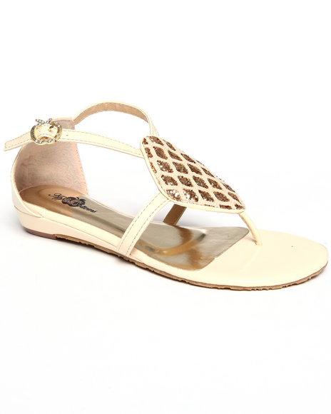 Apple Bottoms Women Cream Diamond Patch Sandal