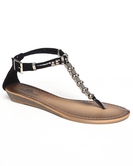 Apple Bottoms Women Black Metal Beads Sandal