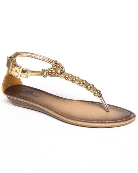 Apple Bottoms Women Gold Metal Beads Sandal