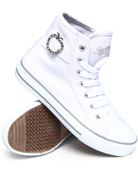 Apple Bottoms - Women White Moss Canvas High Top Sneaker