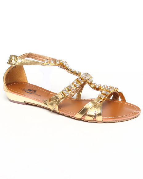 Apple Bottoms Women Gold Jewel Studded Sandal