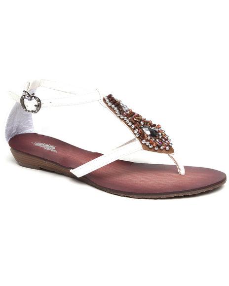 Apple Bottoms Women White Bead Trim Sandal