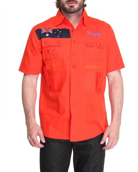 COOGI Men Orange Expedition S/S Button Down Shirt