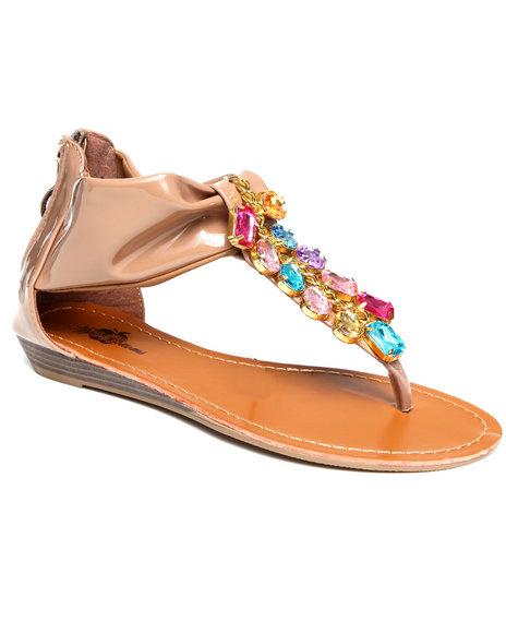 Apple Bottoms Women Tan Patent Beaded Thong Sandal