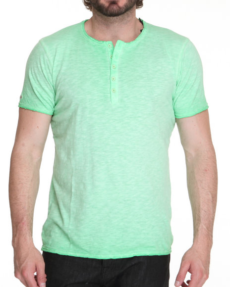 M.O.D. - Men Green S/S Henley Tee