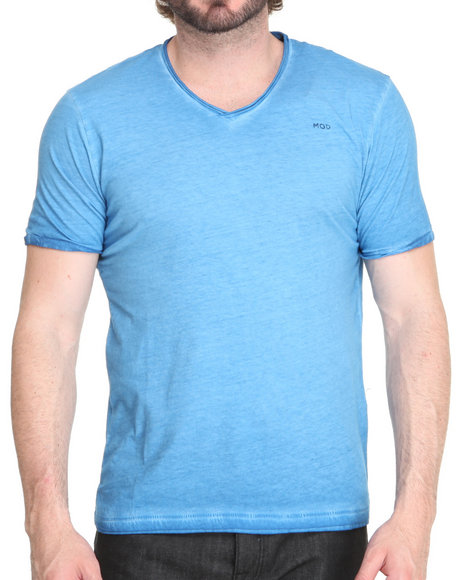 M.O.D. - Men Blue Crystal Wash V-Neck Shirt