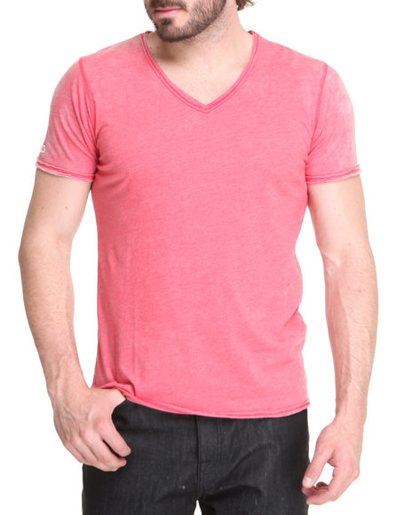 M.O.D. - Men Red Crystal Wash V-Neck Shirt