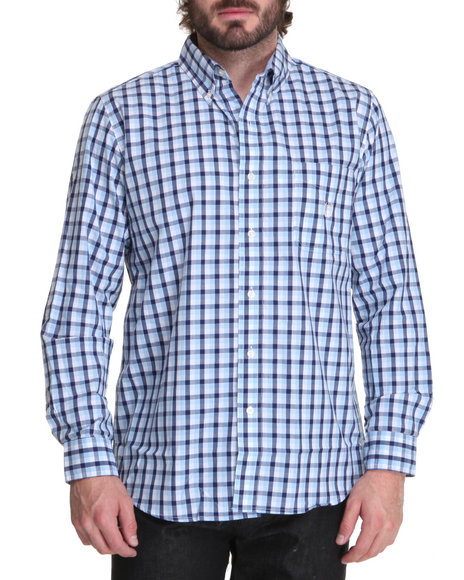 Chaps Men Blue Port Royal Gingham L/S Shirt