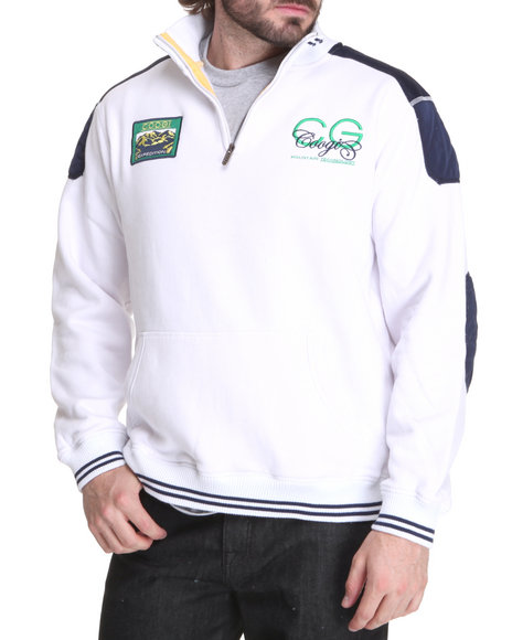 COOGI Men White Expedition Fleece Pullover Sweatshirt