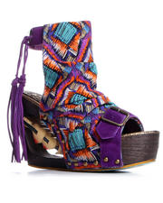 "Irregular Choice - Purple ""Woodstock"" Wedge w/ Heart Detail"