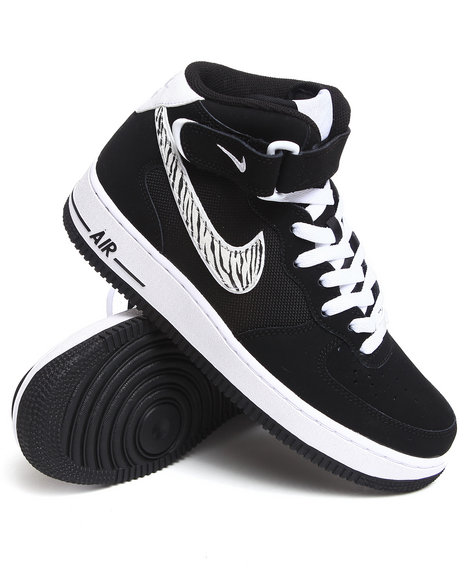 Nike Men Black Air Force 1 Mid Sneakers
