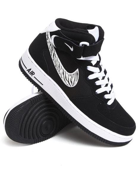Nike Men Black Air Force 1 Mid Sneakers