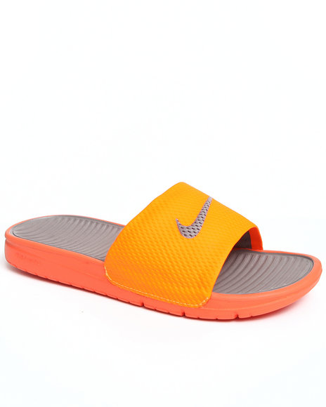 Nike Men Orange Benassi Solarsoft Slide Sandals