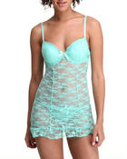 Women - Allover Lace Sexy Chemise Thong Set